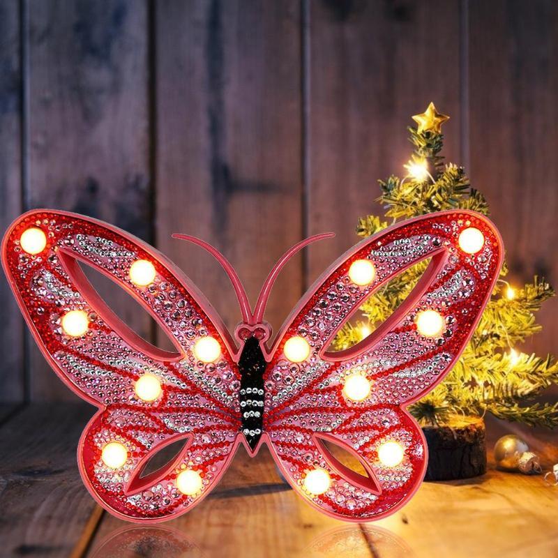 DIY LED diamante pintura luz regalos taladro completo lámpara en forma especial luz de noche para dormitorio decoración de Navidad