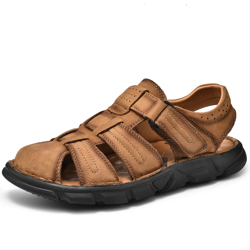 Jumpmore Beach Shoes Summer Cow Leather Men Sandals Size 38-48