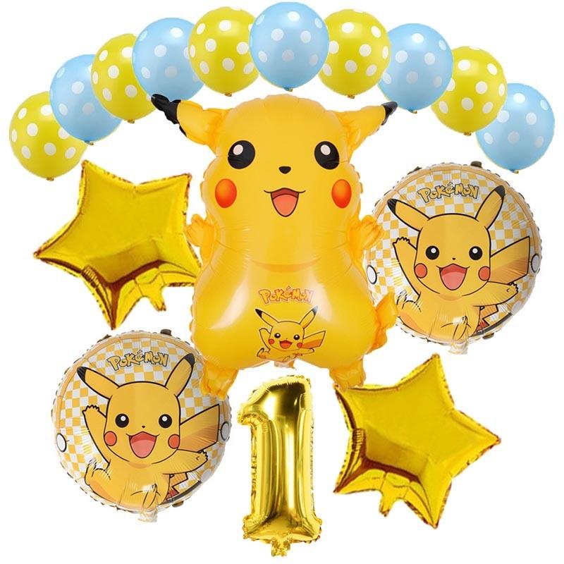 16pcs/set Pokemon Pikachu Balloon Birthday Party Decoration Set Cartoon Animal Pocket Elf Aluminum Film Balloon Birthday Gifts cartoon balloon animal head aluminum film size m its head nylon foil balloons