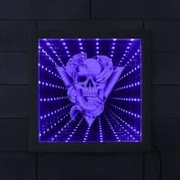 skull with rattlesnake animated neon light mesmerizing illusion wood frame tunnel lamp skull with snake infinity mirror frame