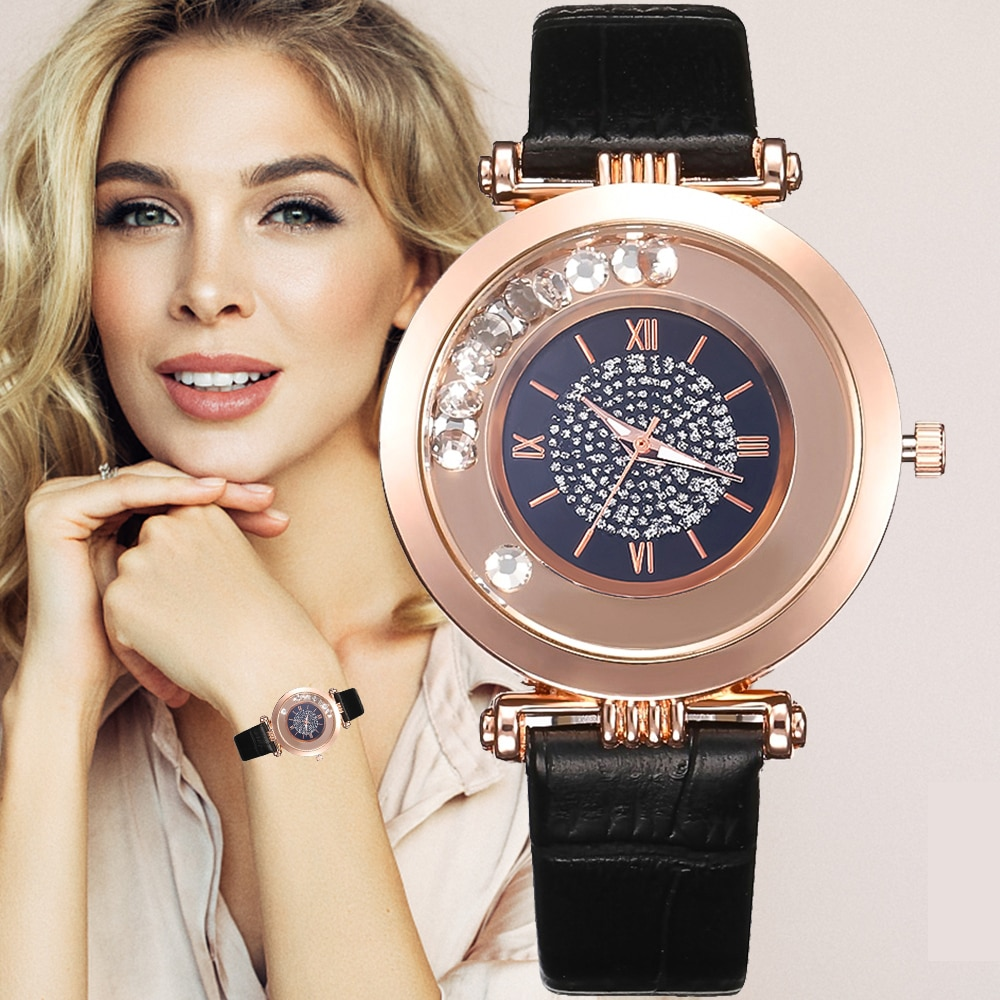 Women Watches Top Brand Luxury Leather Quartz Wristwatch Ladies Dress Rhinestone Watch black Watches Reloj Mujer Montre Femme 2020 women watches top brand luxury quartz watch leather strap fashion wristwatch for women clock ladies hodinky reloj mujer