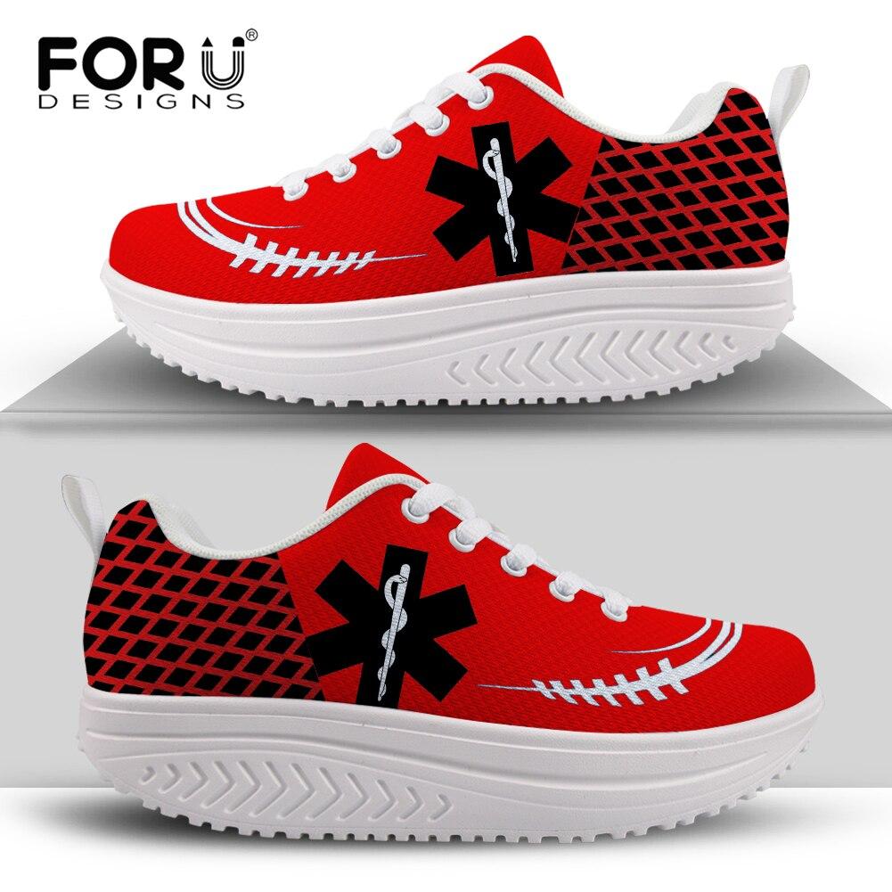 FORUDESIGNS-zapatos de plataforma de cuña de malla para Mujer, Zapatillas Deportivas con...