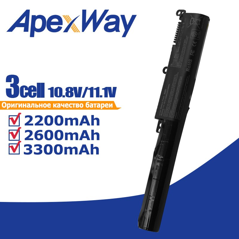 Apexway 3 خلايا بطارية كمبيوتر محمول A31N1601 ل Asus F541UA X541SA X541SC X541U X541UA X541UV R541UA R541UJ R541UV