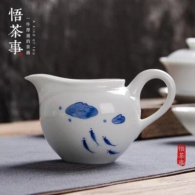 كوب من الفخار بمقبض جانبي ، للشاي ، على طراز الكونغ فو ، الشاي الأسود ، أواني الشاي