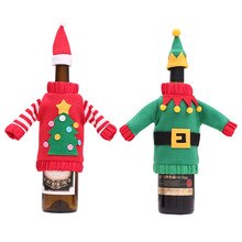 Cute Christmas Wine Bottle Cover Bag Decorative Holder Sweater Xmas Holiday Party Dinner Table Decor