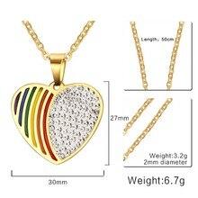 FXM HBB20 acier inoxydable collier vente chaude populaire unique femmes 30mm arc-en-ciel coeur forme 3 couleur amant cadeau femmes bijoux