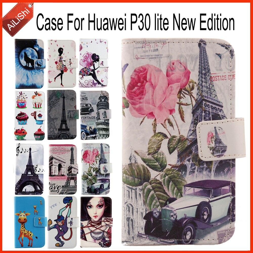 Capa ailishi para huawei p30 lite, capa de couro pintado em flip, nova edição, 100%, capa protetora especial, telefone rastreamento