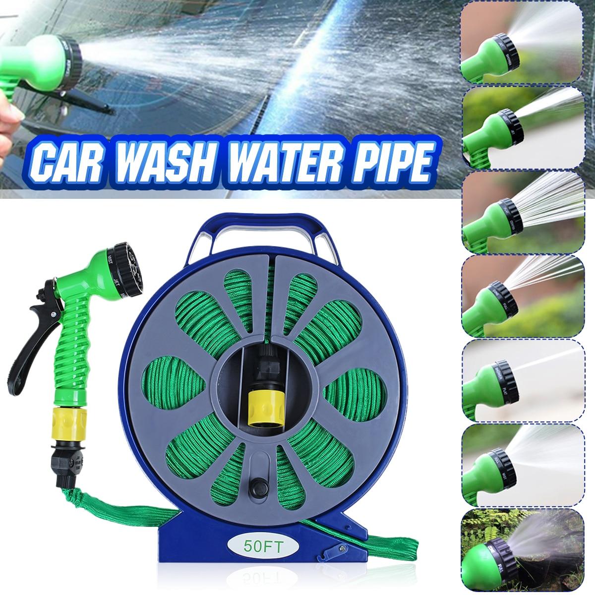 Tubo de lavado de agua de alta presión para coche de 15m, tubo de manguera giratoria, boquilla de tubo de pulverización, riego de jardín con soporte