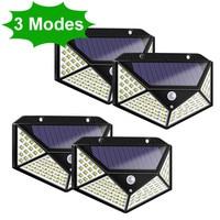 1/2/4pcs 100 LED Solar Light Outdoor Solar Lamp PIR Motion Sensor Wall Light Waterproof Solar Powered Sunlight for Garden Decor