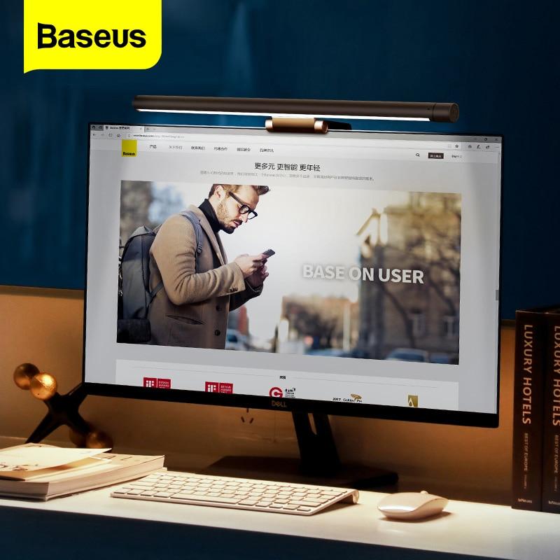 Светодиодный настольный светильник Baseus, регулируемый, для ПК, компьютера, ноутбука, экран, барный светильник, настольная лампа, зарядка через usb, светильник для чтения, для офиса, дома, в помещении