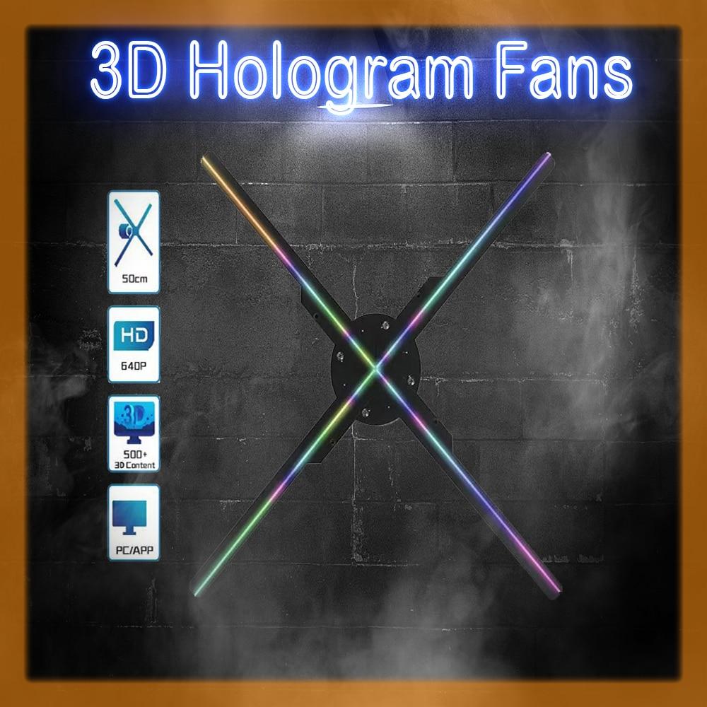 3D الهولوغرام مروحة جهاز عرض (بروجكتور) ليد أضواء عرض إعلاني 1080 HD داخلي البسيطة Wifi شعار مصباح متجر الديكور