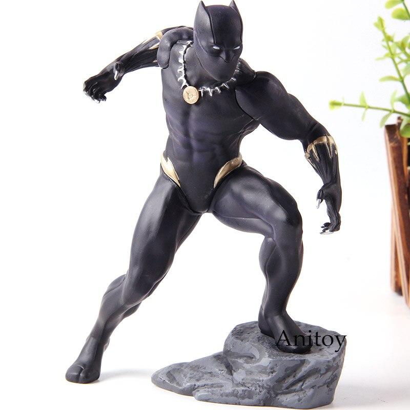 Serie de vengadores negros Artfx estatua Pantera Marvel juguetes Kotobukiya figuras de acción PVC colección modelo de juguete con caja