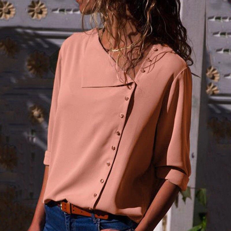 Шифоновая Блузка, повседневные женские топы и блузки с длинным рукавом, Офисная рубашка с косой горловиной, женские блузки, Blusas Mujer De Moda, 2019