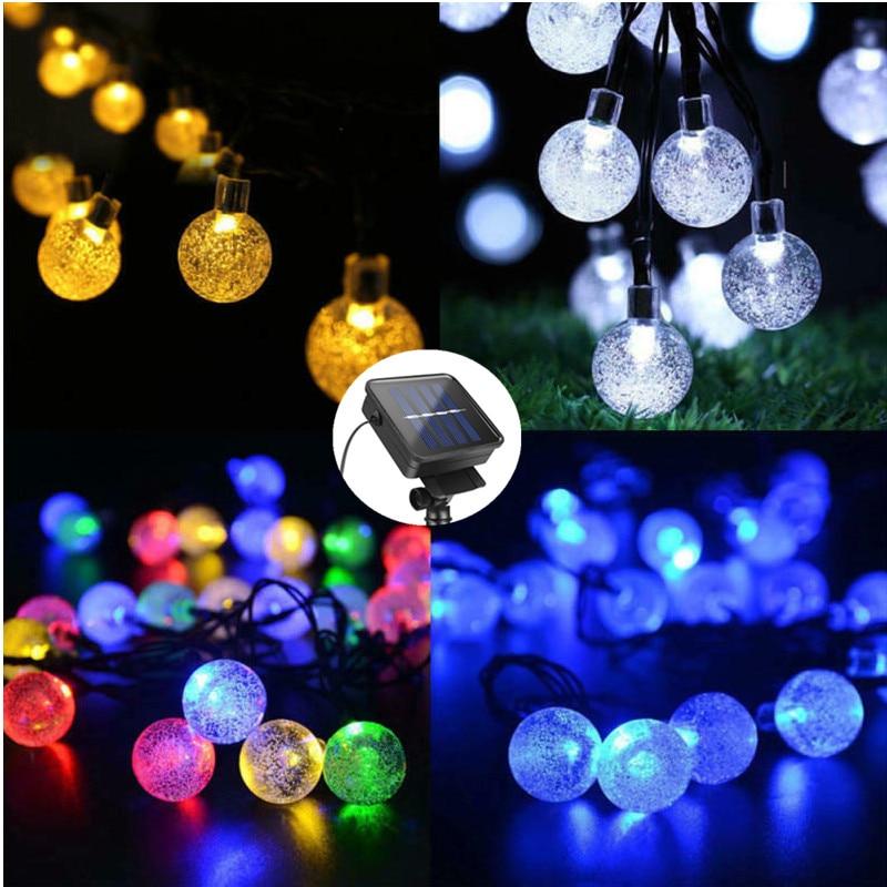 جديد 20/30/50 LED كريستال الكرة LED مصباح الطاقة الشمسية LED سلسلة الجنية أضواء الشمسية أكاليل حديقة زينة عيد الميلاد للخارجية