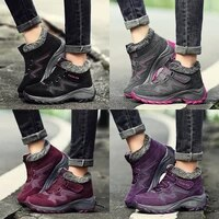 fashion casual fleece boots for women winter warm outdoor sports non slip hiking shoes