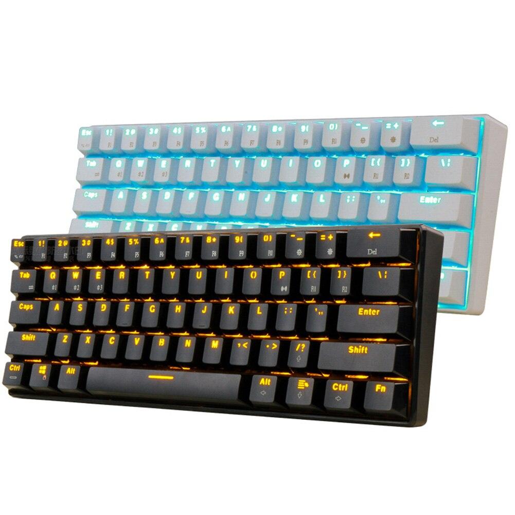 لوحة مفاتيح الألعاب الميكانيكية اللاسلكية 61 مفتاح واحد الخلفية الميكانيكية الخضراء رمح لعبة لوحة المفاتيح
