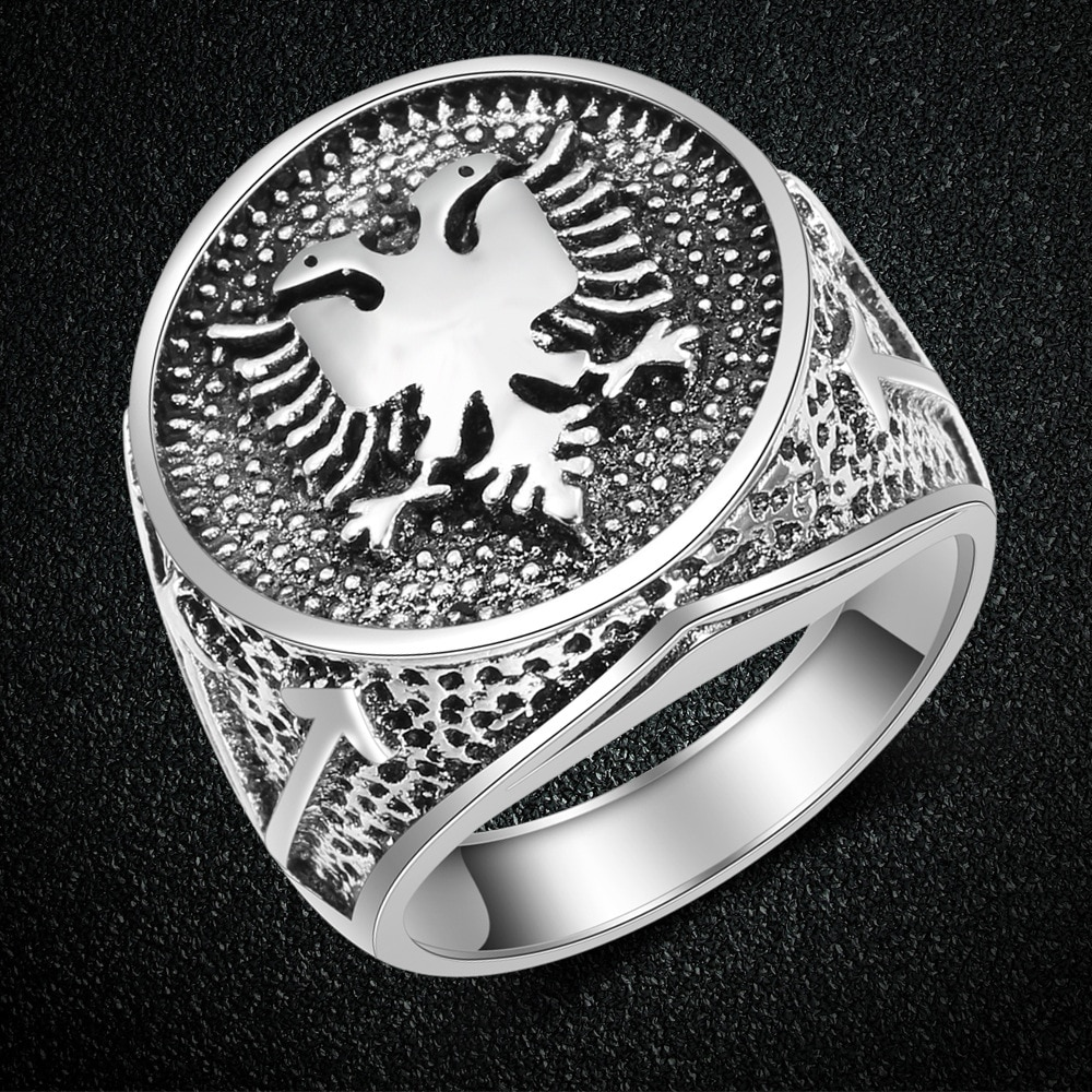 WANGAIYAO, Европейский Флаг Албании, кольцо с логотипом, двухстороннее кольцо с орлом, мужские ювелирные изделия, древнее Винтажное кольцо, паре...