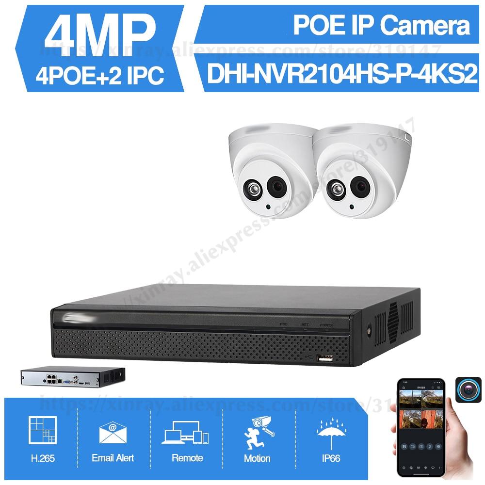 Dahua 4MP 4+2/4 Security Camera System 4MP IP Camera IPC-HDW4433C-A 8CH POE NVR2104HS-P-4KS2 Surveillance P2P System Remote View dahua ip camera ipc hdw4433c a 4mp network ip camera onvif built in mic poe 4433c a 4431c a home security cctv h 265 ipc camera
