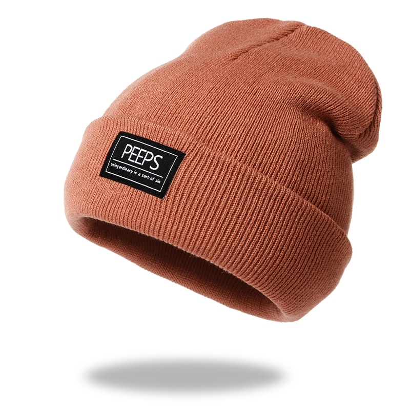 New PEEPS letter knitted beanie hat 100% cotton flexible soft fashion high quality beanies unisex hi