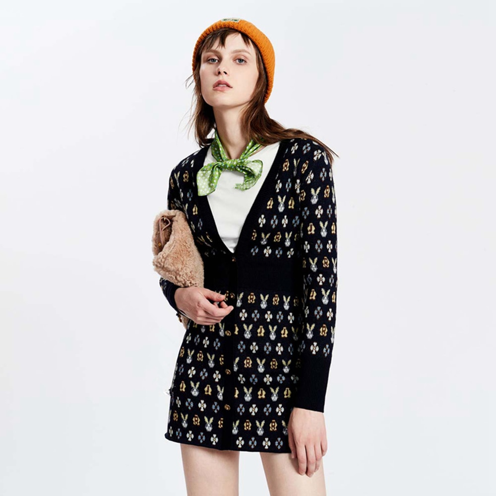 Женское трикотажное платье-свитер, Брендовое дизайнерское платье трапециевидной формы с глубоким V-образным вырезом, длинным рукавом и при...