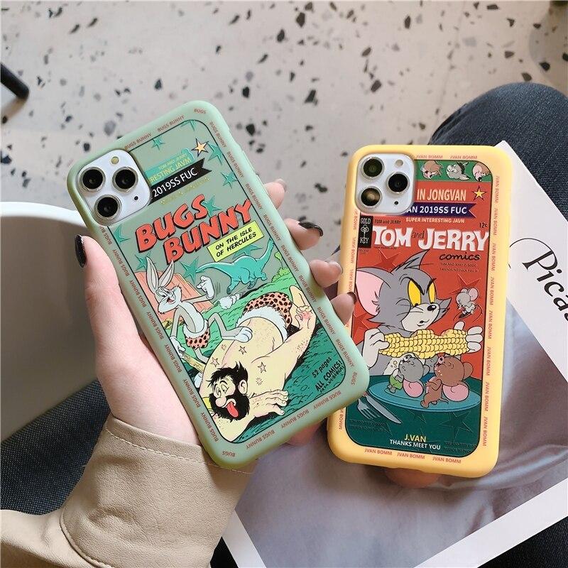 funda de teléfono para iphone 7 8 plus iphone 6 s 6 s plus funda trasera de silicona de dibujos animados para iphone 11pro XS Max XR X 10