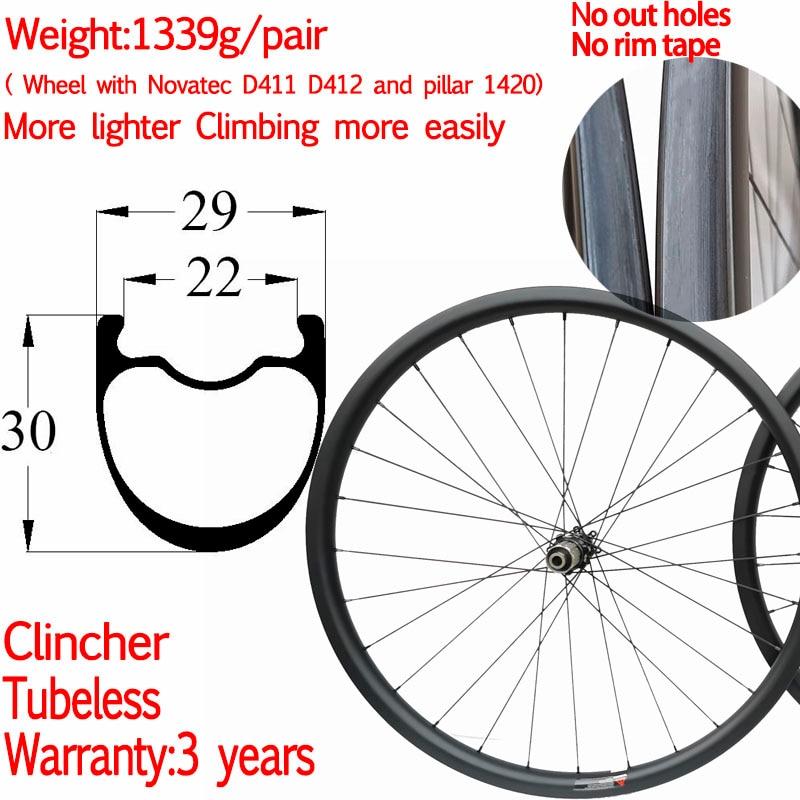3 años de garantía luz 1339g carbono bicicleta camino grava disco rueda de ancho 29mm de alto 30mm ruedas de carbono disco Ciclocross ruedas