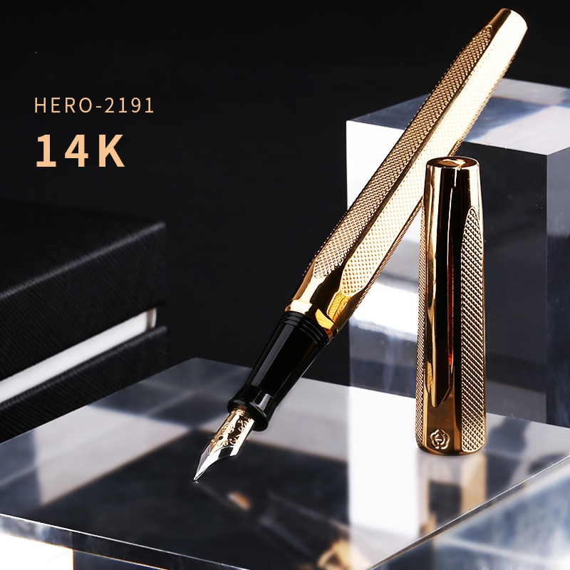 Hero 2191 14K Gold Collection Fountain Pen Golden Engraving Ripples Two-head Medium Nib Gift Pen and Box for Business Office