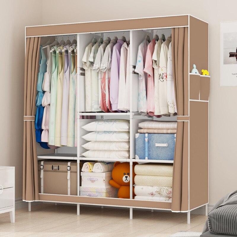 Armario Simple almacenamiento a prueba de polvo armario de tela armario de acero Marco de combinación armarios de almacenamiento minimalista moderno de gran tamaño