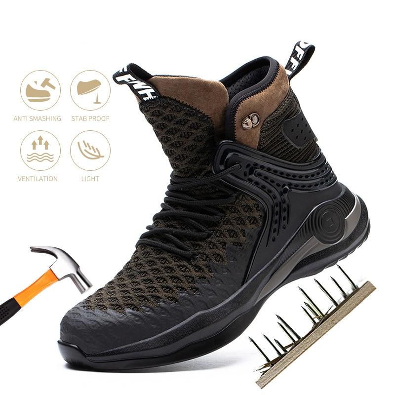 رجل سلامة عالية أعلى أحذية عمل مكافحة تحطيم مكافحة ثقب أحذية أمان تحلق ضوء العمل البناء أحذية الرجال