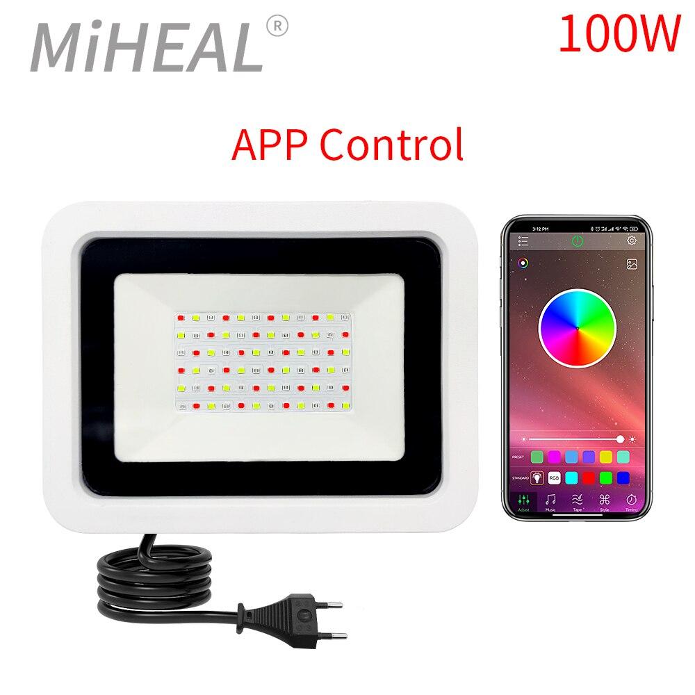 Led مصابيح بإضاءة قوية باللون الأحمر والأزرق والأخضر 50 واط 100 واط IP68 أضواء خارجية 220 فولت RGB عاكس العارض مصباح مع APP/التحكم عن بعد
