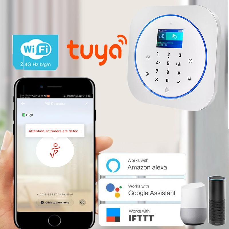 Free Shipping LCD Russian Spanish French German Polish Menu Tuya APP 433MHZ Wireless WIFI GSM Home Burglar Security Alarm System