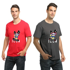 Brand Funny Skateboard bulldog with ICON letters printing Women Men's cotton sports T-shirt Crew Neck short sleeve comfort Shirt