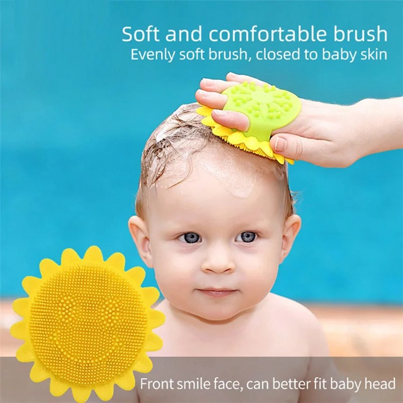 Mambobaby girassol forma design macio silicone bebê escova de cabelo escova de banho
