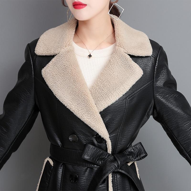 Fashion Winter Women Faux Fur Jacket Women Leather Coat With Belt Long Windproof Plus Size 4XL Slim Thick Warm Leather Fur Coat enlarge
