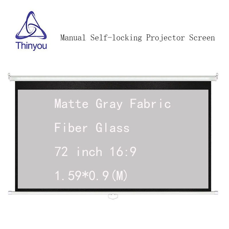 Thinyou Manual Auto-bloqueo 72 pulgadas 169 pantalla del proyector mate gris tela de fibra de vidrio Manual pantalla desplegable
