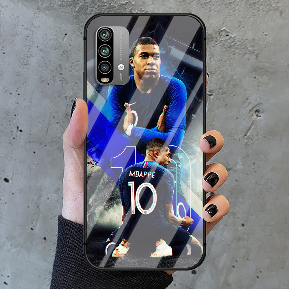 Kylian Mbappe football Phone Tempered Glass Case Cover For Xiaomi Redmi note k 7 8 9 10 30 40 A C T S Pro 4G 5G Ultra Shell  - buy with discount