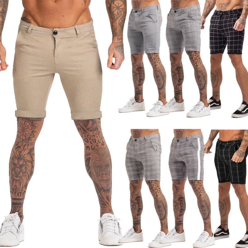 Шорты мужские в клетку с эластичным поясом, модные брендовые шорты скинни для фитнеса, повседневные эластичные чиносы, лето