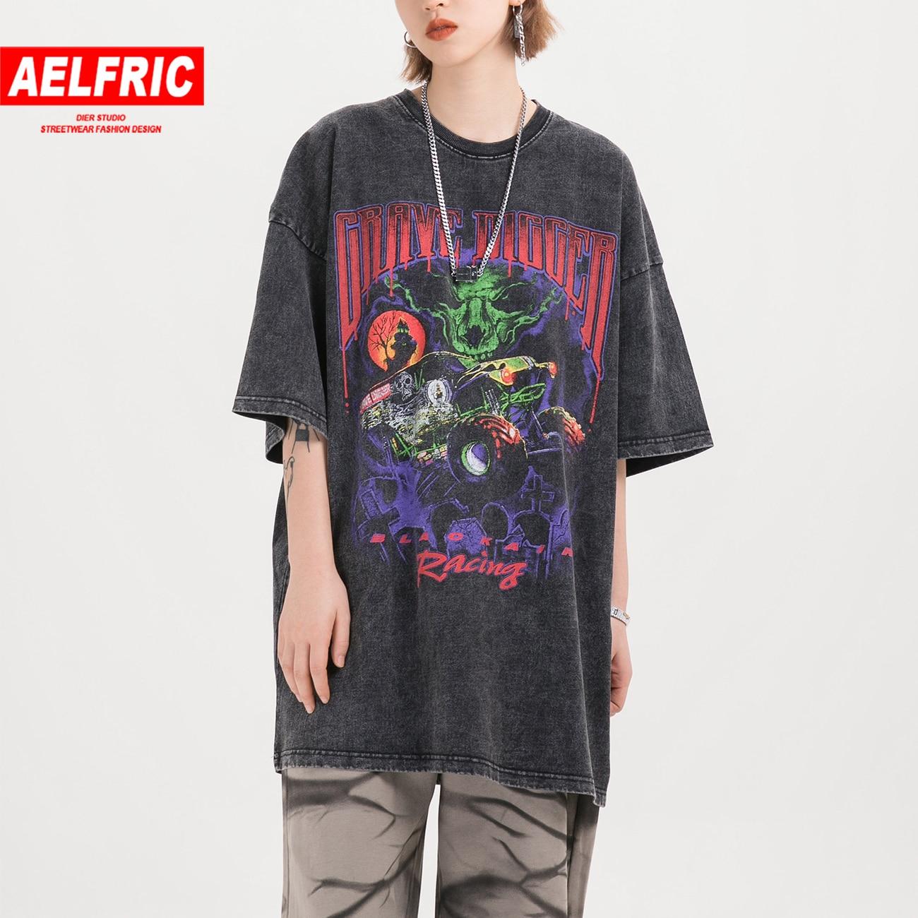 Aelfric hip hop graffiti t camisa feminina 2020 verão moda tshirts meia manga oversized harajuku casual algodão topos t preto