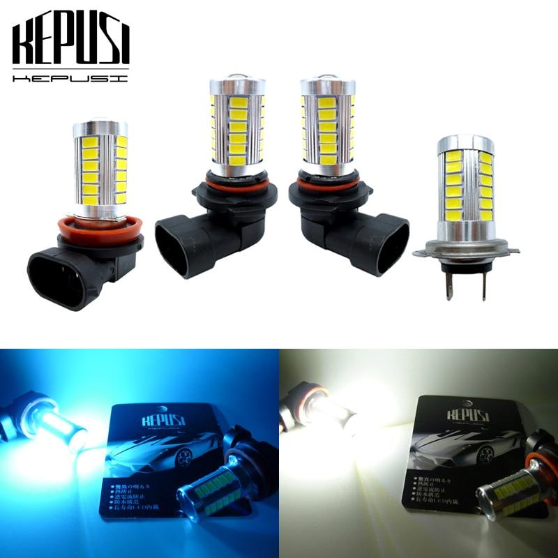2pcs H11 H8 9005 HB3 9006 HB4 H7 LED Fog Light Bulbs Car LED Running Lights Auto Driving Lamp DRL White Ice Blue 12V