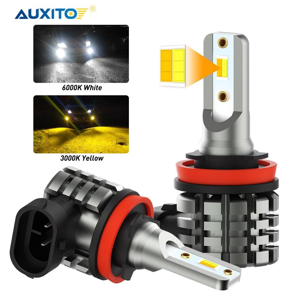 AUXITO 2x H8 H9 H11 H16JP LED ampoule double couleur Switchback Auto brouillard conduite lampe DRL 12V 6000K blanc 3000K ambre jaune voiture lumières