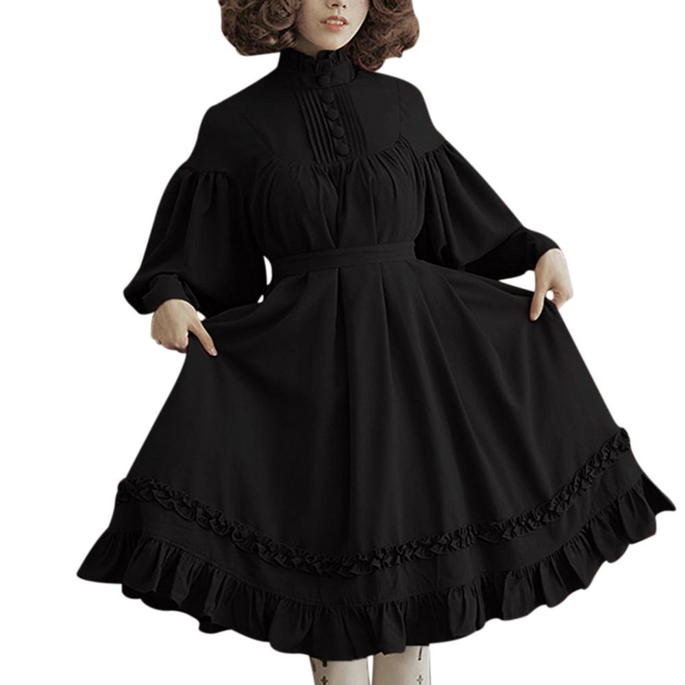 Vestido lolita gótico para mujer, manga larga, suelto, cuello levantado, manga de la linterna de encaje, bonito vestido pequeño de fiesta, vestidos dulces lolita