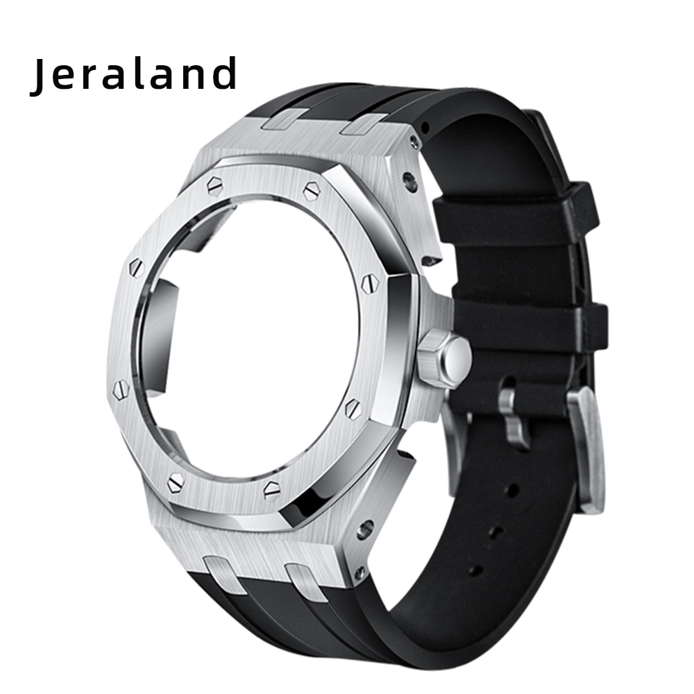 4th GA2100/2110 Generation Octagonal Metal Bezel with Crown Fluorine Rubber Band for Jeraland Modification 316 Stainless Steel