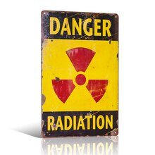 Danger radiation Metal Tin sign Vintage Garage Pub Bar Restaurant Coffee Cafe Wall Decor