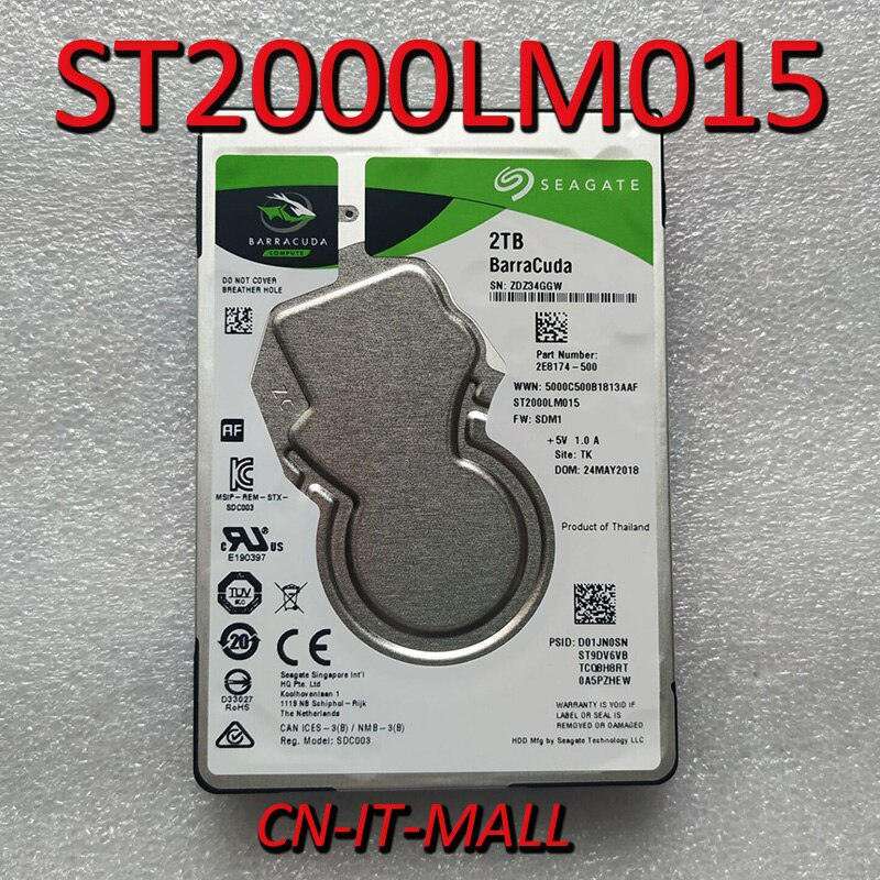 "Disco duro interno para ordenador portátil Seagate 2TB baracuda ST2000LM015 5400 RPM 128MB Cache SATA 6,0 Gb/s 2,5"""