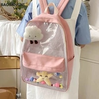 backpacks woman mesh large capacity for students transparent clear bag leisure nylon school book travel cute rucksacks sweet