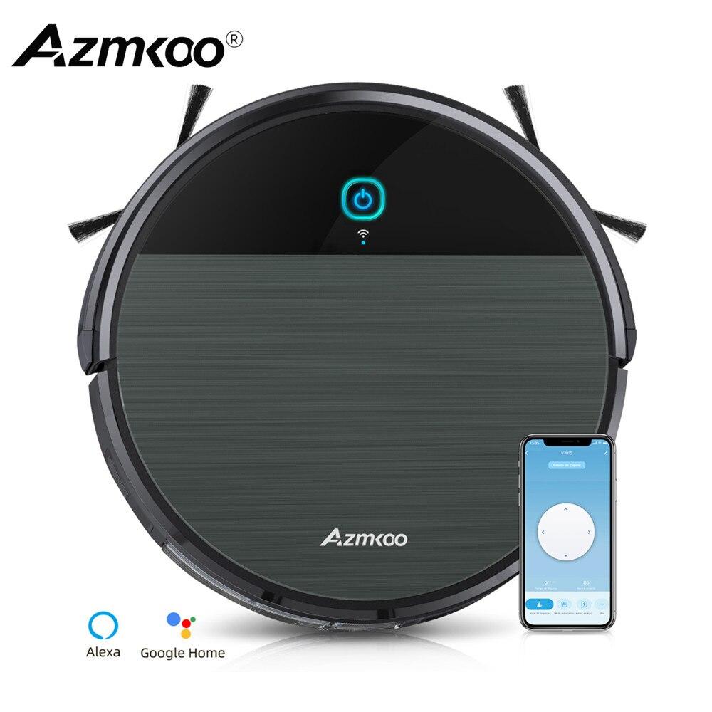 Azmkoo روبوت مكنسة كهربائية متوافق مع App/اليكسا وظيفة المسح للفراغ واضح السجاد الصلب الحيوانات الأليفة سقوط الشعر الحماية