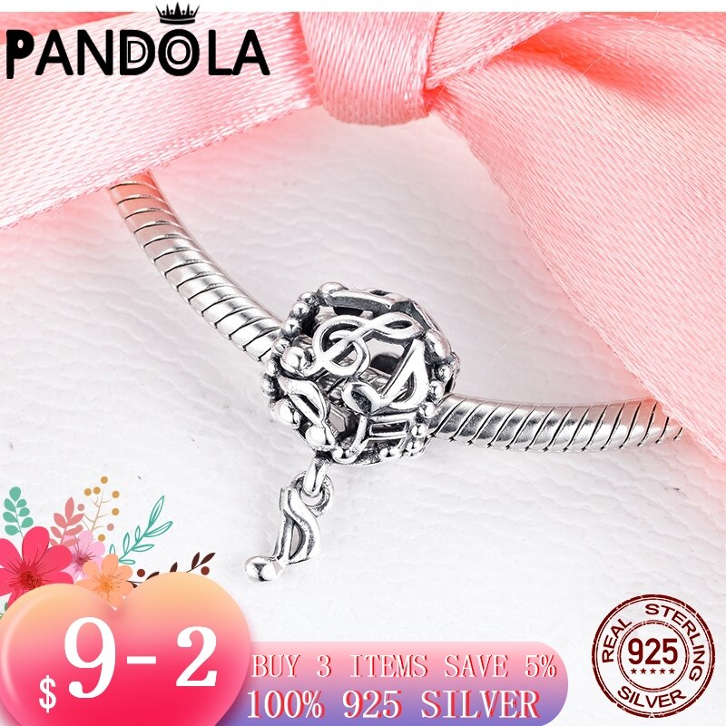 High Quality 925 Sterling Silver Openwork Music Notes Charms Beads fit Original Pandora Bracelet Jewelry Gift