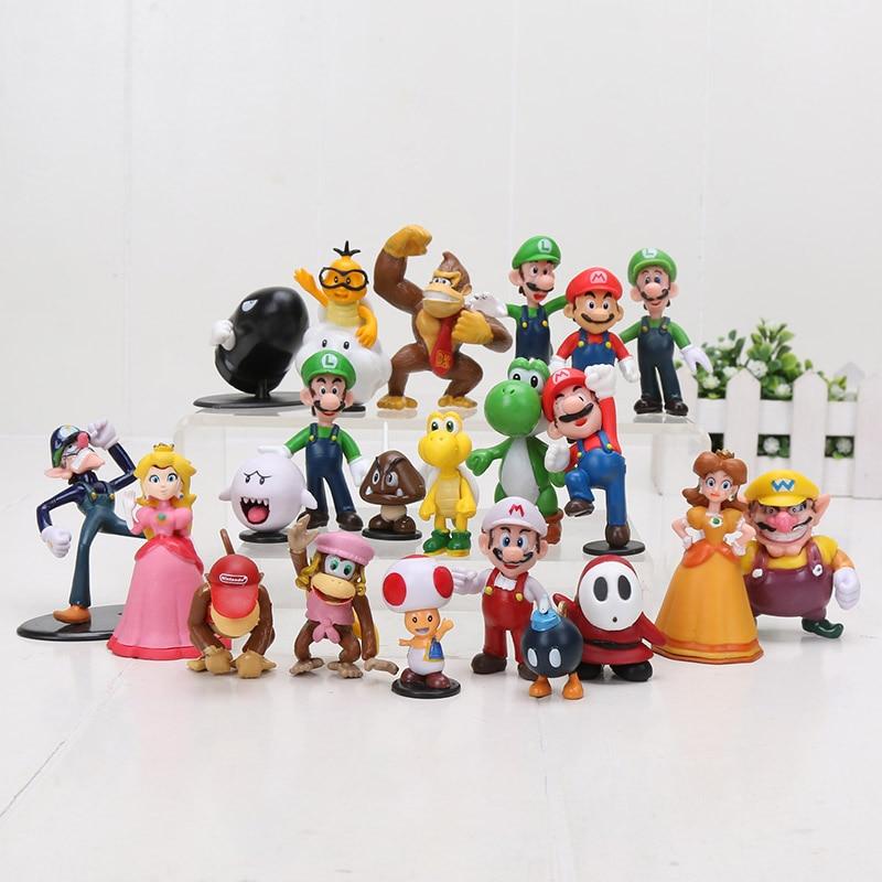 22 pièces/ensemble Super Mario Bros famille Mini figurines jouets Mario Luigi Wario Waluigi crapaud Bowser Yoshi pêche marguerite Goomba Koopa jouets