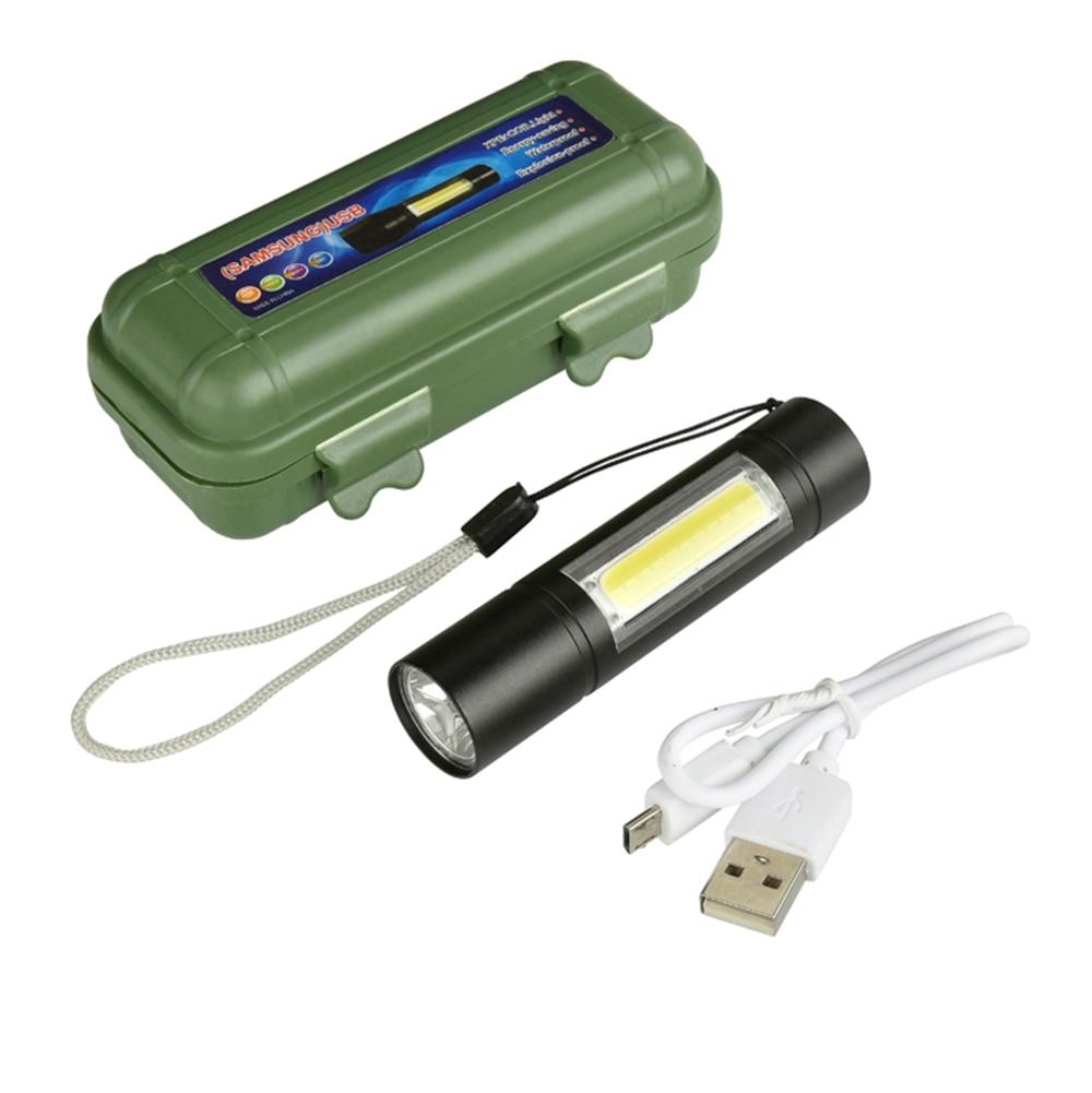 Mini Linterna LED construido en 14500 USB recargable Q5 + COB 3 modos antorcha Linterna de la luz de la pesca de caza de la lámpara