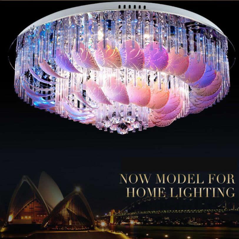 Moderno techo cristal candelabro iluminación Control remoto RGB candelabros sala de estar dormitorio romántico
